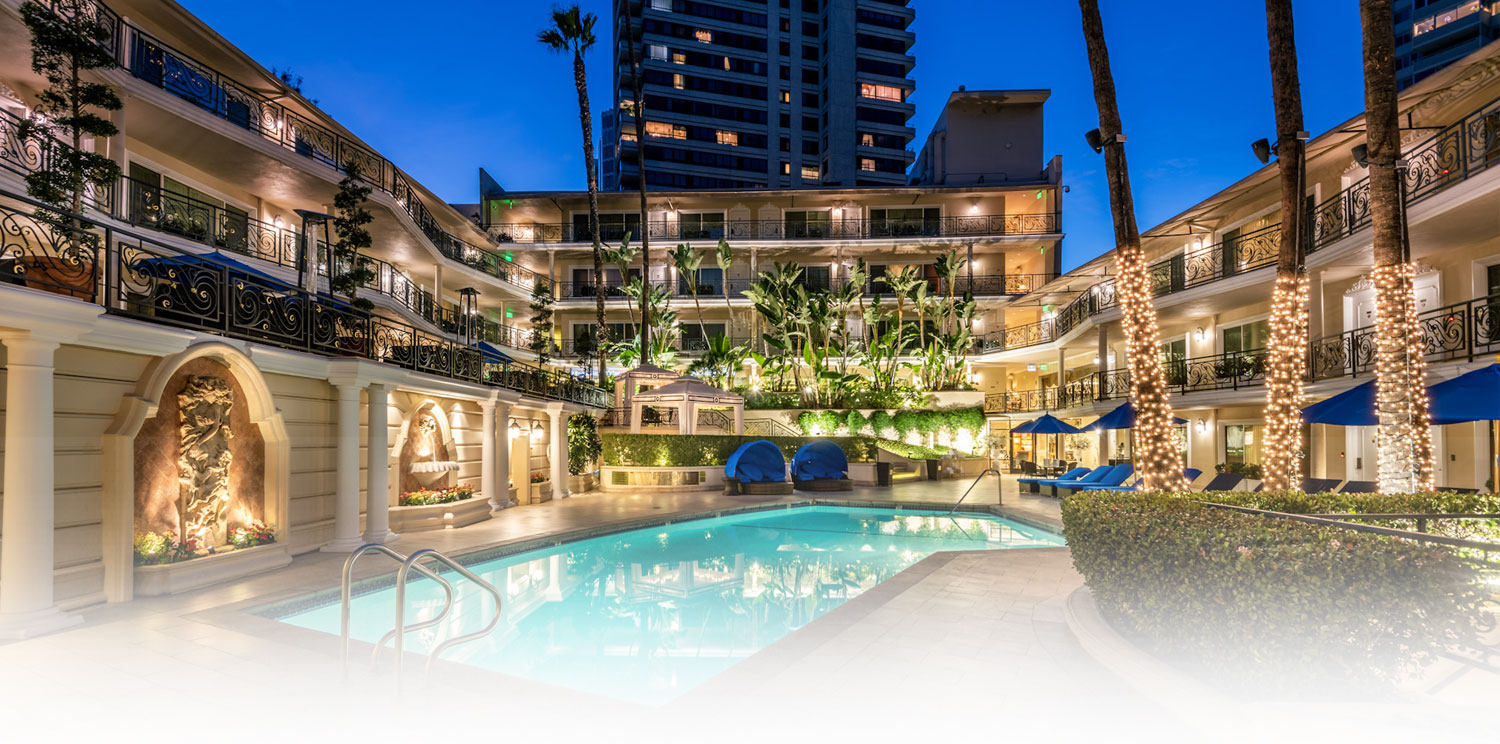 BEVERLY HILLS PLAZA HOTEL & SPA IS CENTRALLY LOCATED IN DOWNTOWN BEVERLY HILLS NEAR UCLA